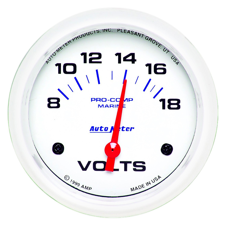 Voltmeters In Dash : Auto meter  marine white™ voltmeter in dash gauge