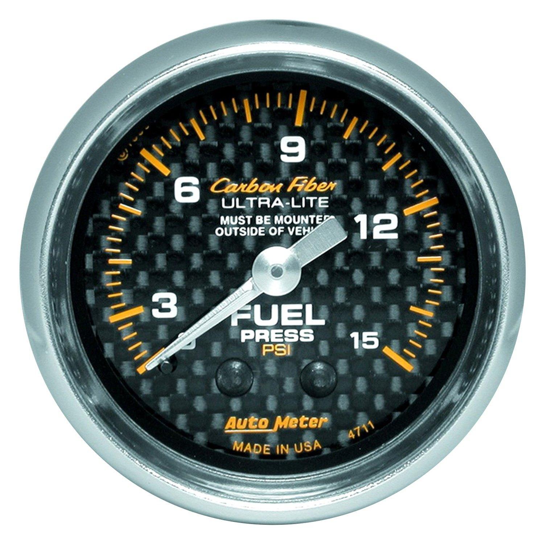 Auto meter carbon fiber™ fuel pressure in dash gauge