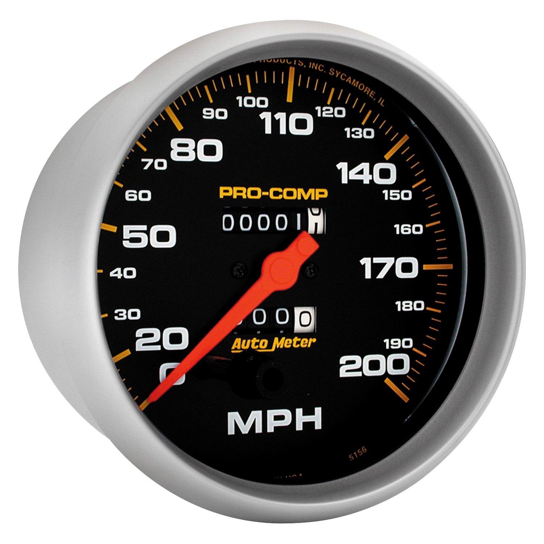 auto meter 5156 pro comp series 5 speedometer gauge 0 200 mph. Black Bedroom Furniture Sets. Home Design Ideas