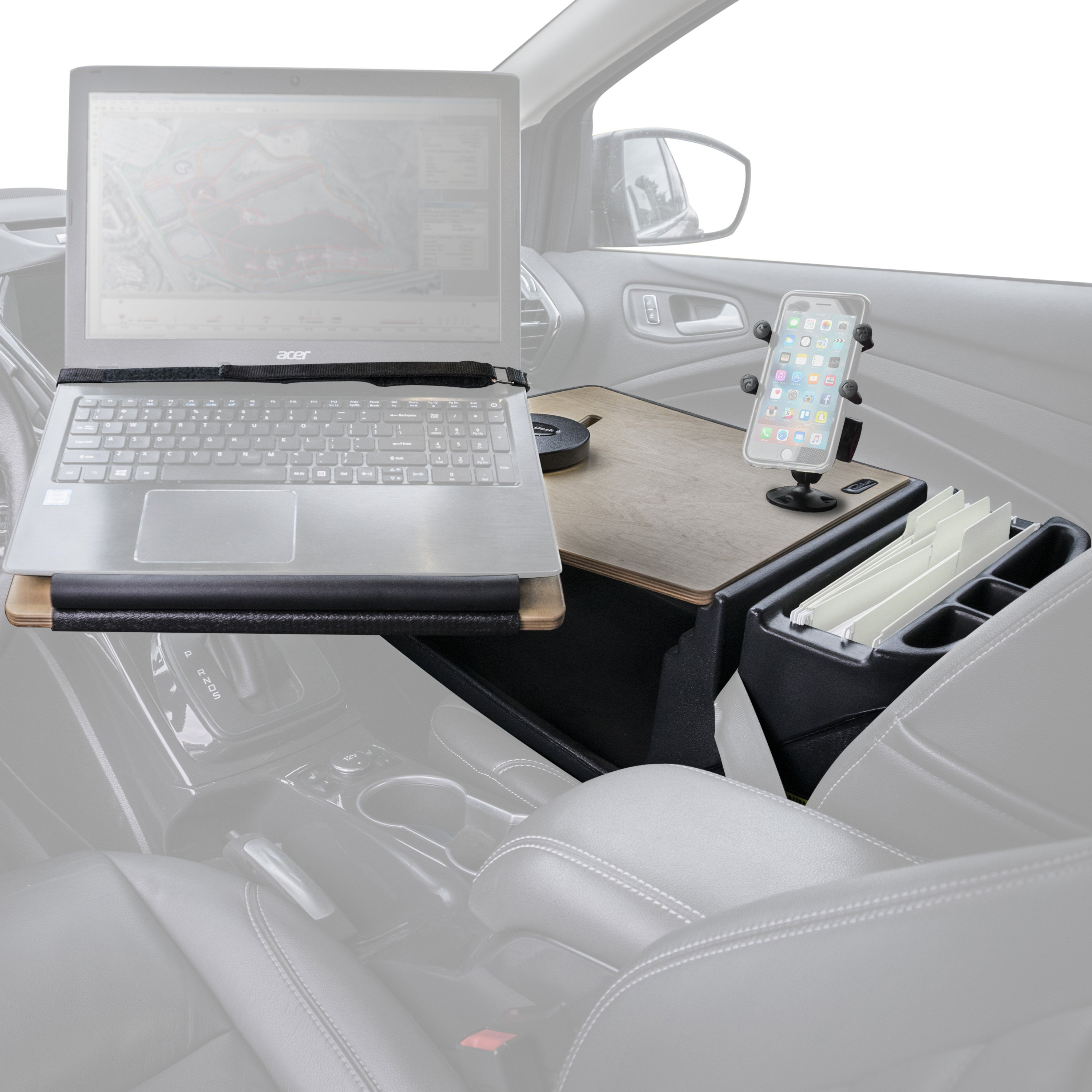 Reach Birch Front Seat Desk With Built In Power Inverter And X Grip Phone MountAutoExecR