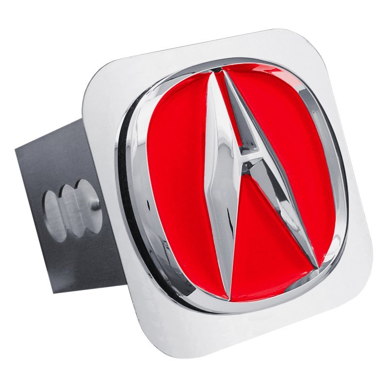 Autogold TACURC Red Hitch Cover With Chrome Acura Logo For - Red acura emblem
