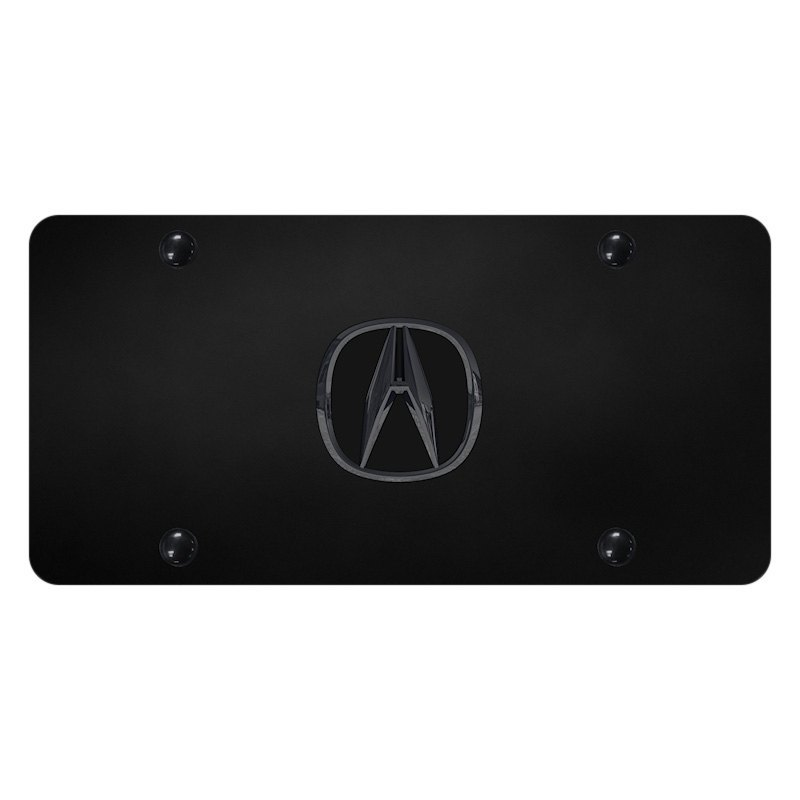 Autogold ACUPB Black License Plate With D Black Pearl Acura Emblem - Acura license plate