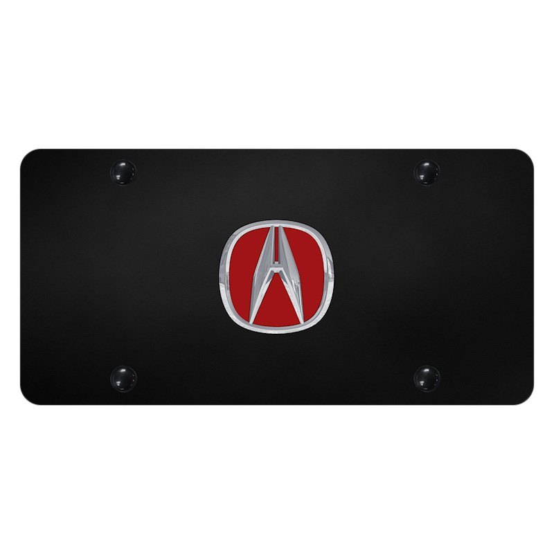 Autogold ACURCB Black License Plate With D Chrome Red Acura - Red acura emblem
