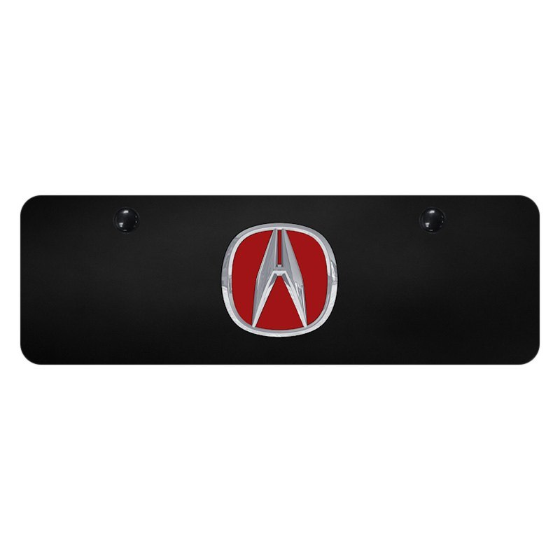Acura Red Emblem: Black Mini Size License Plate With