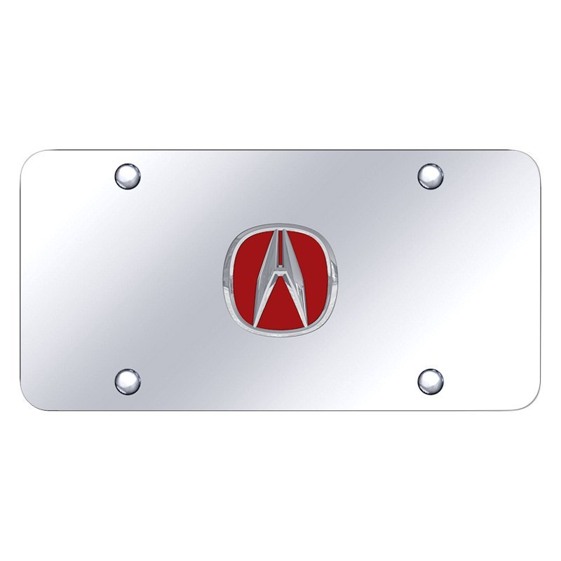 Autogold ACURCC Chrome License Plate With D Chrome Red Acura - Red acura emblem