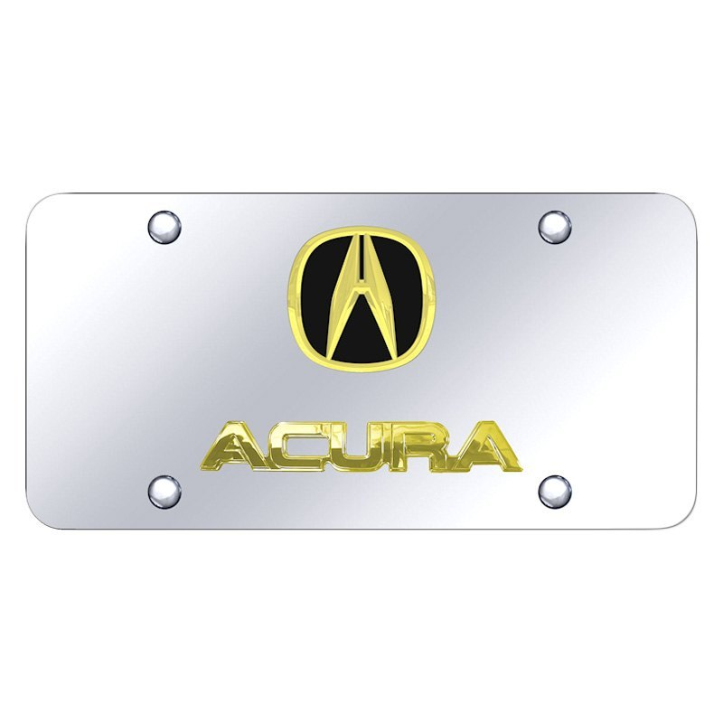 Acura Red Emblem: Chrome License Plate With 3D Gold