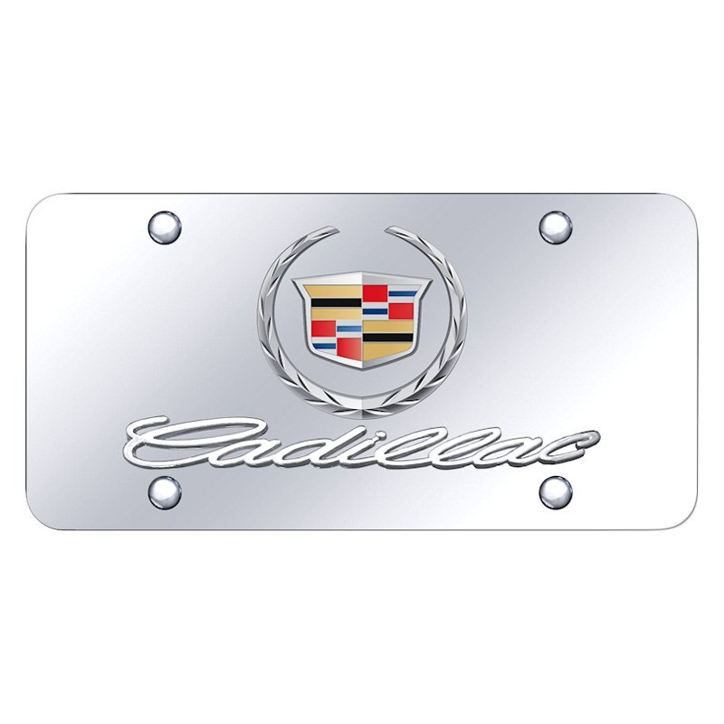 Cadillac CTS Logo Black Mirror Outline Finish Lazer Tag Acrylic License Plate