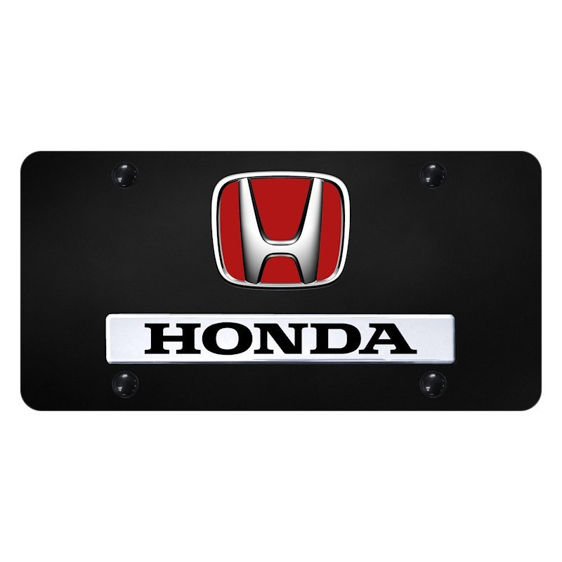 Autogold® D.HON.R.CB - Black License Plate with 3D Chrome ...