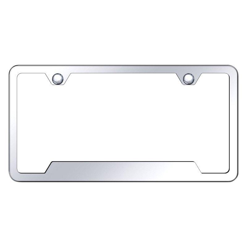 2 Holes Plain Black Slimline Metal License Plate Frame