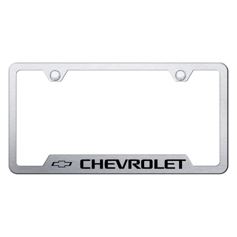 Autogold® GF.CHV.ES - Brushed License Plate Frame with Laser Etched ...