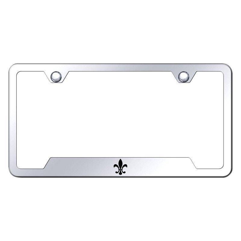 Autogold License Plate Frame With Laser Etched Fleur De Lis Logo
