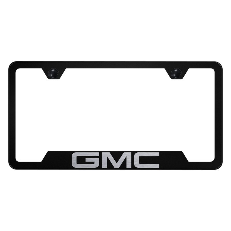 Autogold® GF.GMC.EB - Black License Plate Frame with Laser Etched ...