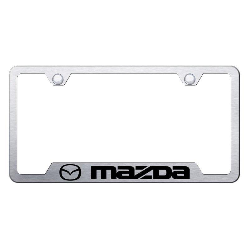 Autogold® GF.MAZ.ES - Brushed License Plate Frame with Laser Etched ...