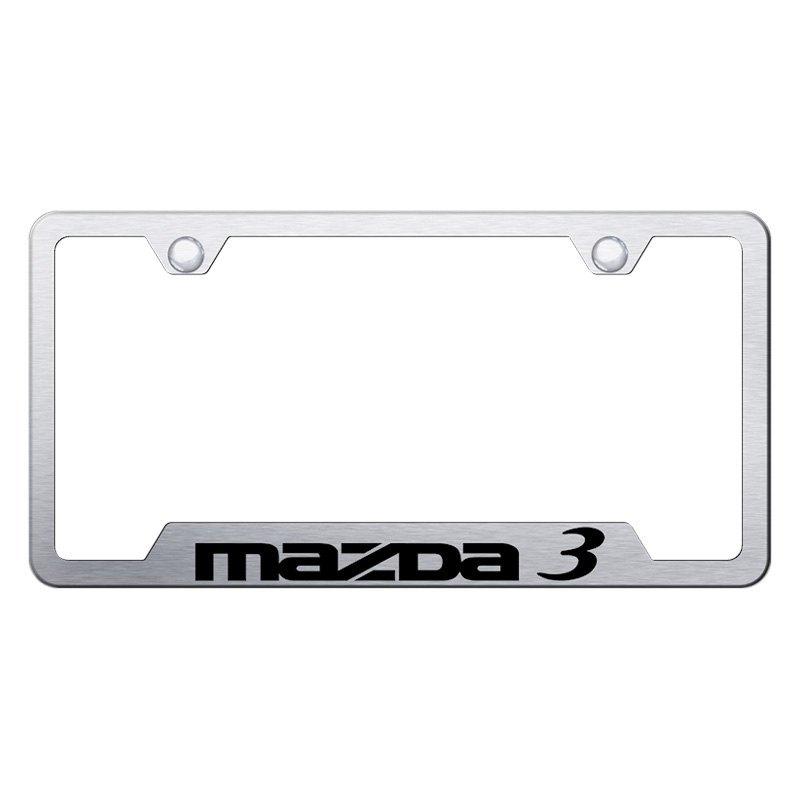 Autogold® GF.MZ3.ES - Brushed License Plate Frame with Laser Etched ...