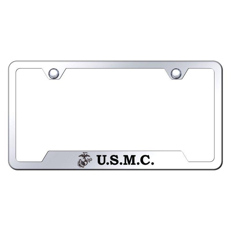 Autogold® GF.USMC.EC - Chrome License Plate Frame with Laser Etched ...
