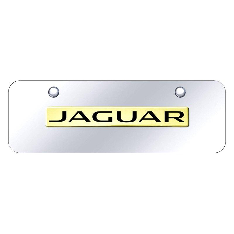 Autogold JAG.N.GCM - Chrome Mini Size License Plate w 3D Gold Jaguar ...