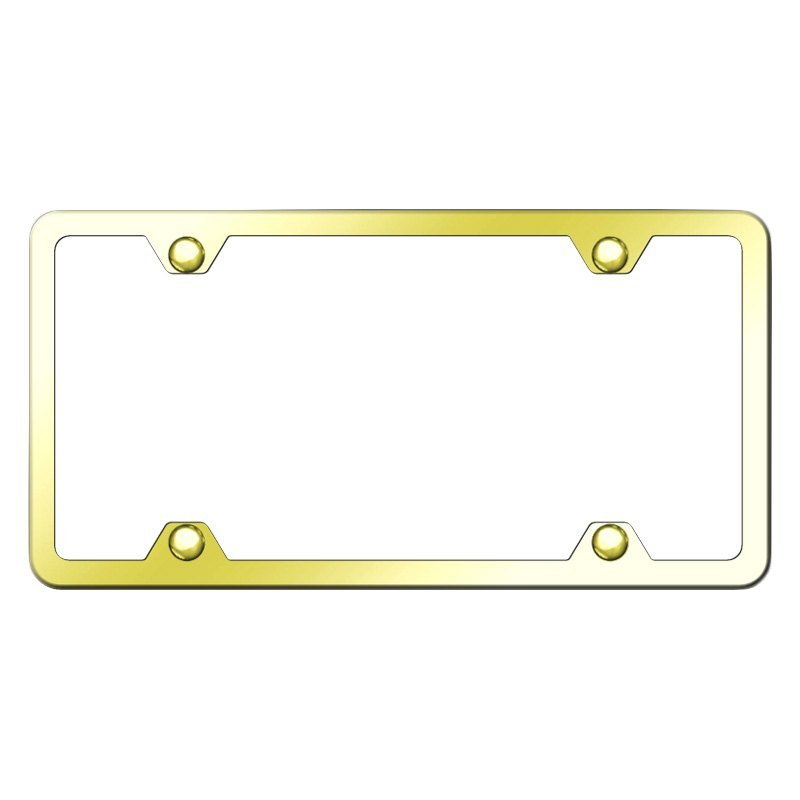 Autogold® LF.451.G - Slimline Plain 4-Hole Gold License Plate Frame