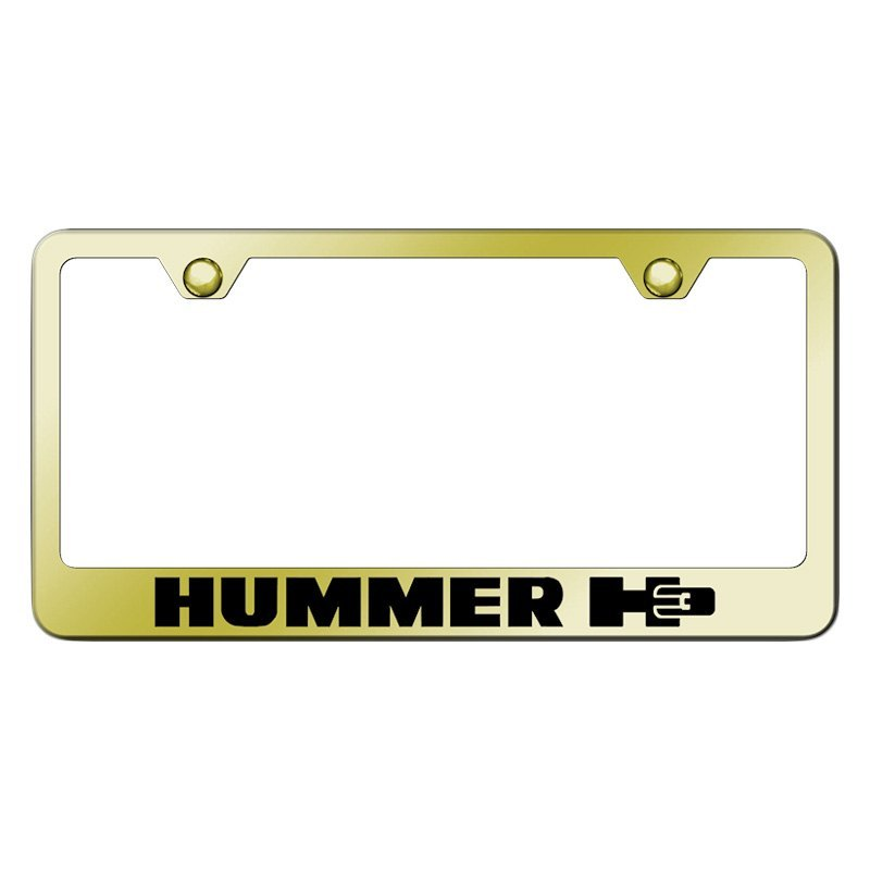 autogold174 license plate frame with laser etched hummer