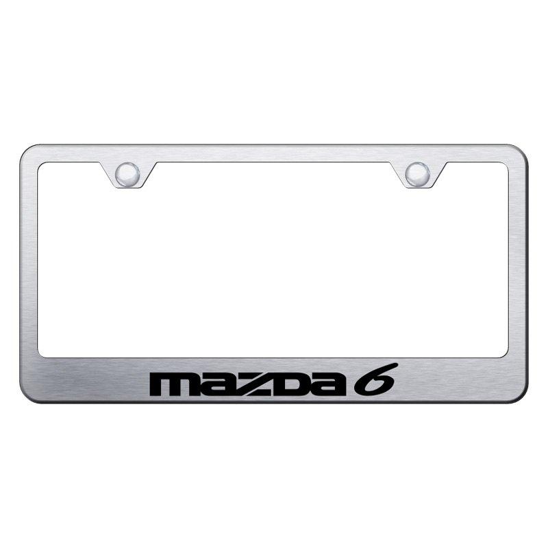 Autogold® LF.MZ6.ES - Brushed License Plate Frame with Laser Etched ...
