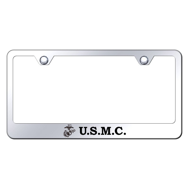 Autogold® LF.USMC.EC - Chrome License Plate Frame with Laser Etched ...