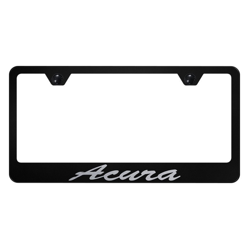 Autogold License Plate Frame With Script Laser Etched Acura Logo - Acura license plate frame