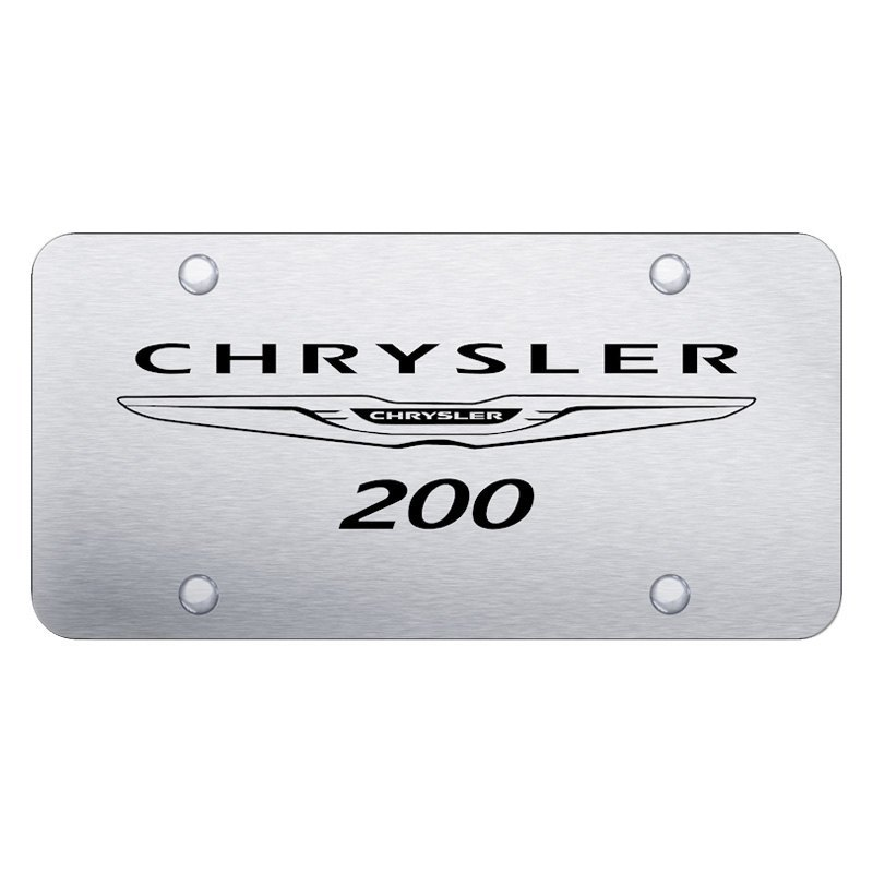 License Plate With Laser Etched Chrysler 200 Logo