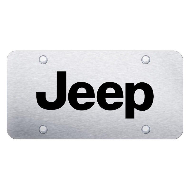 JEEP 3D RAISED Emblem Black Stainless Steel License Plate Frame Rust Free