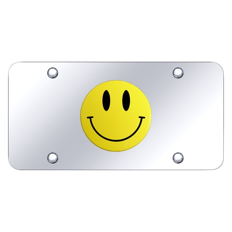 autogold174 smiyc chrome license plate with 3d yellow
