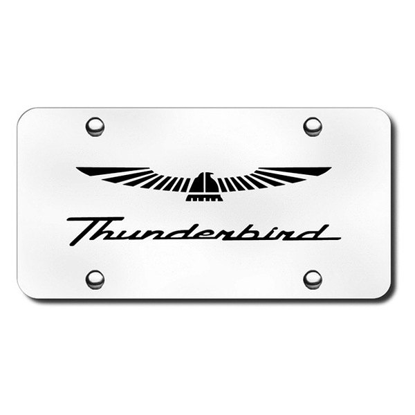 etched thunderbird logo on chrome license plate 1980 ford thunderbird