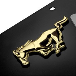 AutoGold® - 3D Gold Mustang Horse Logo on Black License Plate