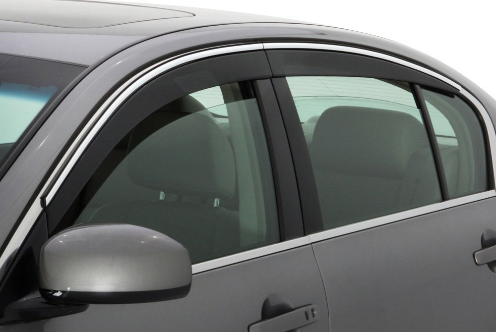 AVS® 794004 - Tape-On Low Profile Ventvisor™ Smoke Front and Rear Window Deflectors with Chrome Trim