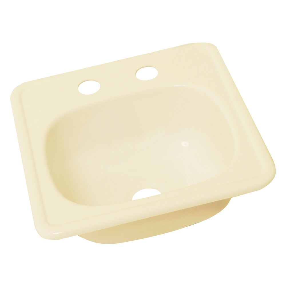 """Galley Kitchen Sink: 15"""" X 15"""" Parchment Square Kitchen/Galley Sink With 2 Holes"""