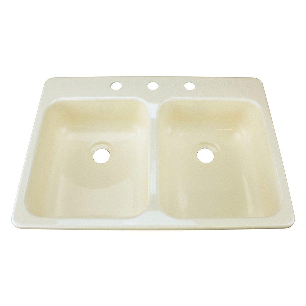 Better bath 209401 25 x 17 parchment double kitchen for Galley kitchen sink