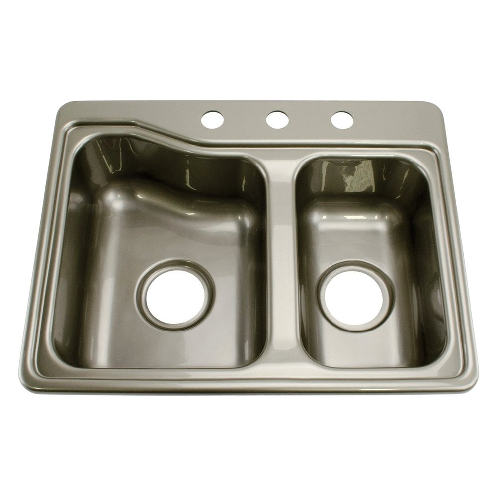 """Galley Kitchen Sink: 25"""" X 19"""" Stainless Steel Double Kitchen/Galley Sink With 3 Holes"""