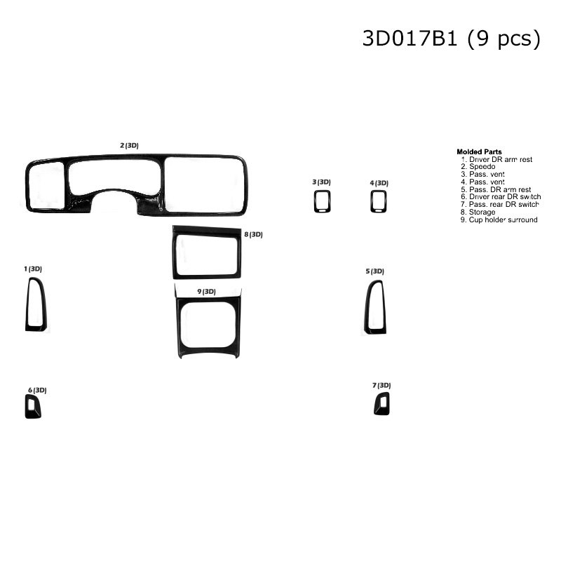 b u0026i u00ae  o heated seats 2003 3d large dash kit