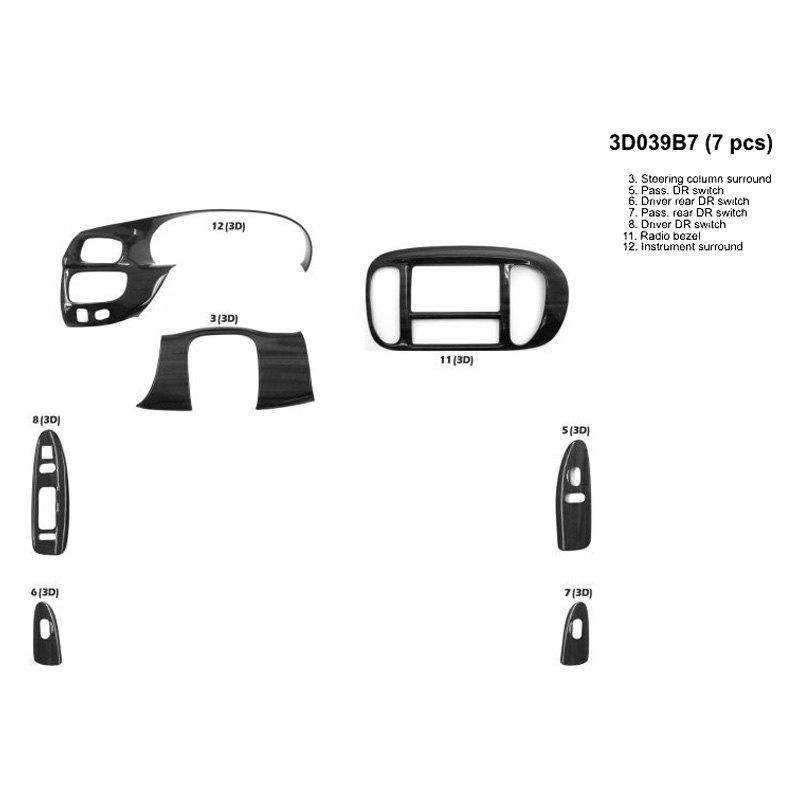 B I 3d039b7 Sdb 3d Dark Burlwood Full Dash Kit 7 Pcs