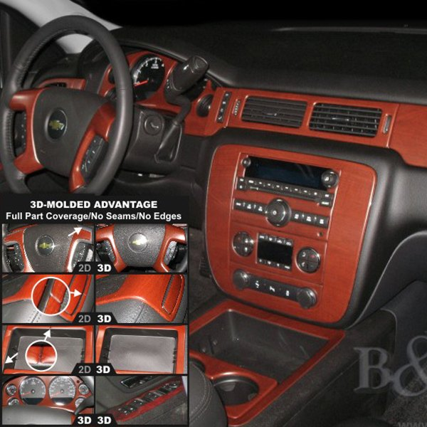 B I Chevy Avalanche 2007 2009 3d Molded Large Dash Kit