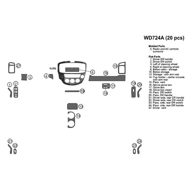 Bi Wd724a Dc3 Combo Red Fiber Large Dash Kit 20 Pcs