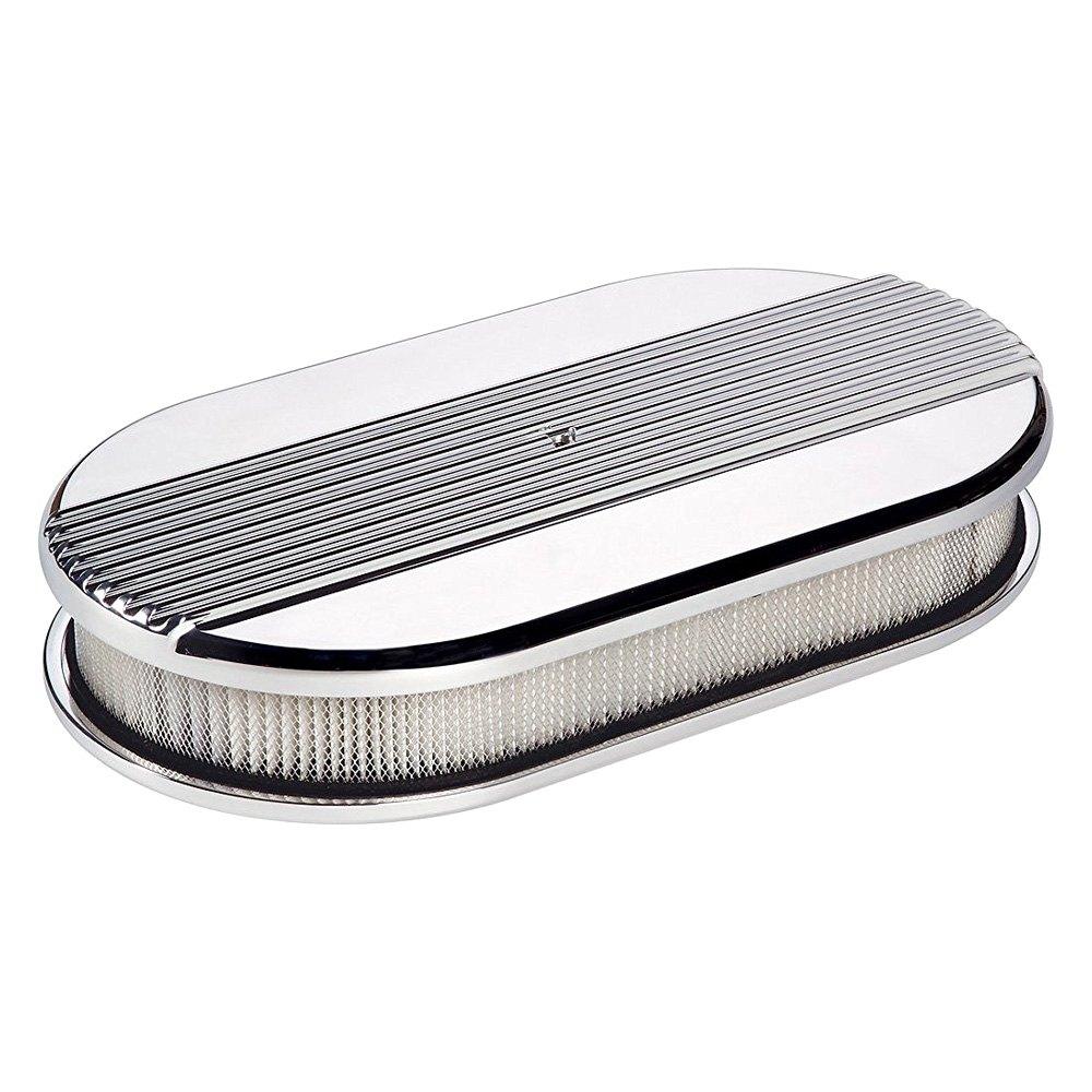 Billet Air Cleaner : Billet specialties large oval white aluminum