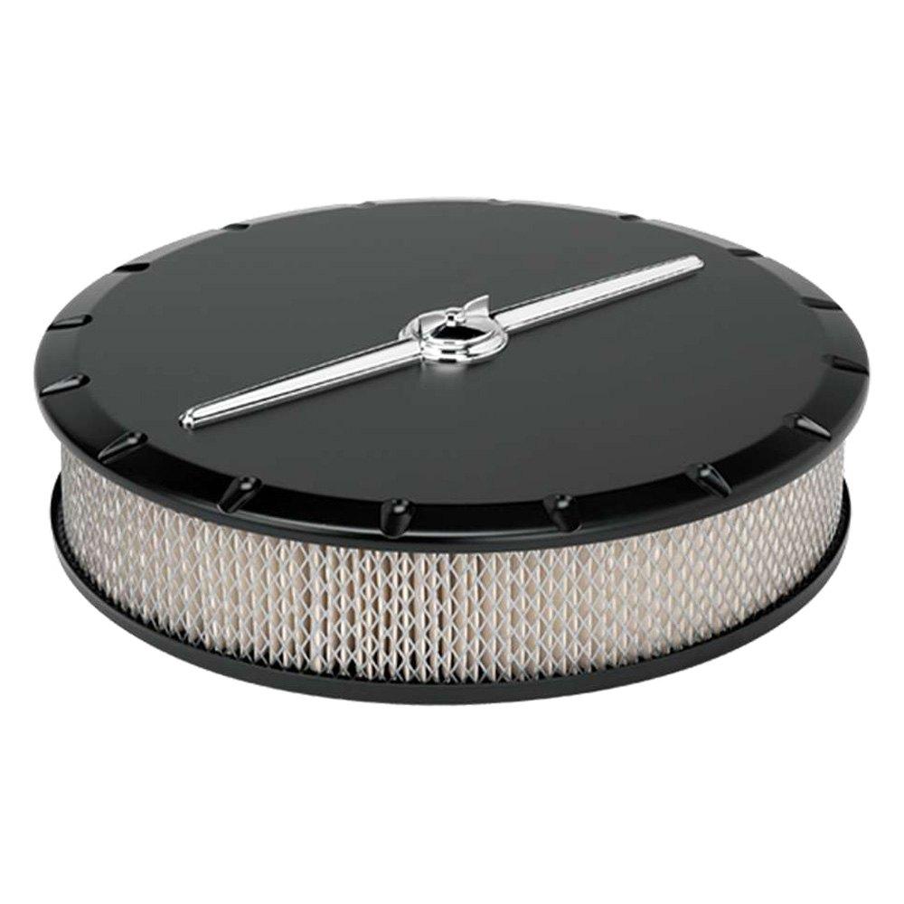Billet Air Cleaner : Billet specialties round white aluminum black air