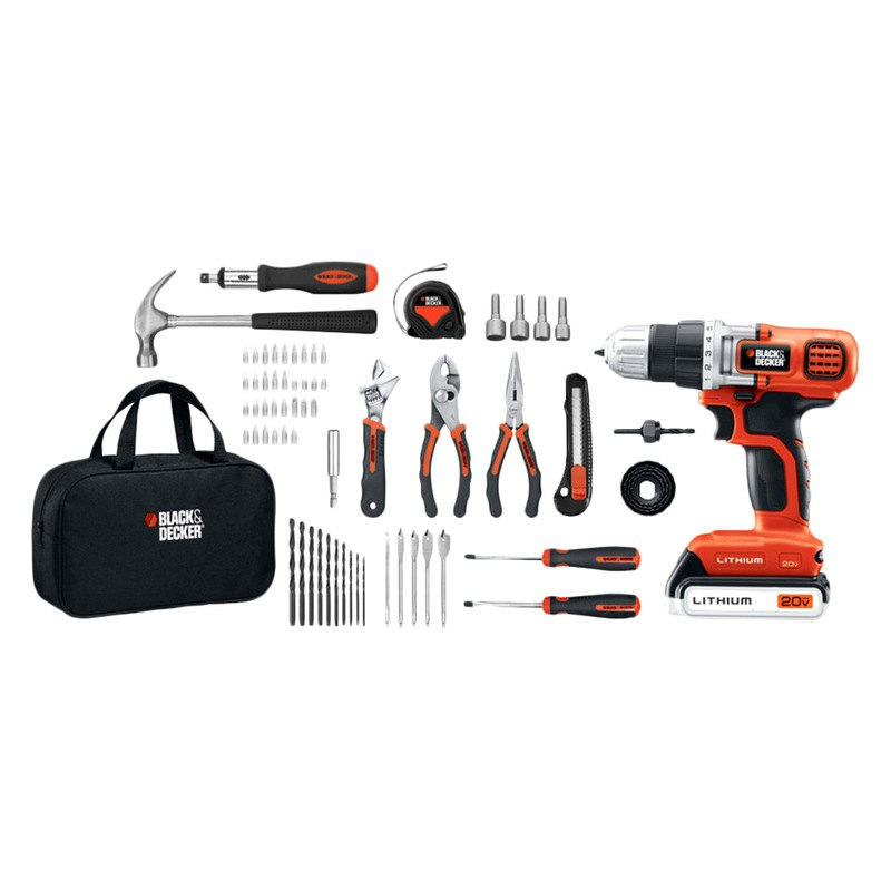 black decker ldx120pk 20v max lithium drill and project kit. Black Bedroom Furniture Sets. Home Design Ideas