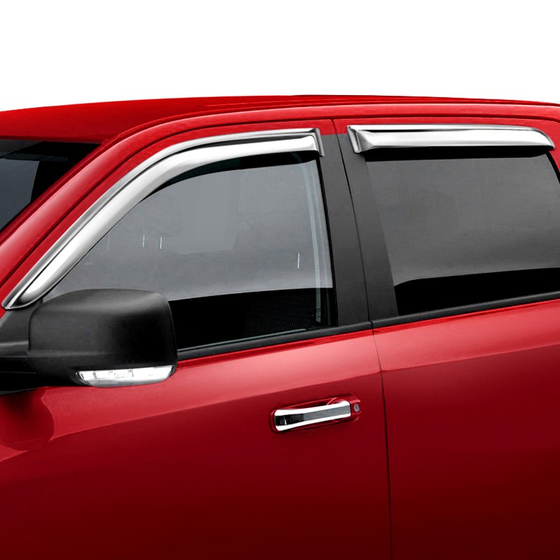 Chrome Window Vent Visors Rainguard Tap On For Dodge Ram: Chevy Silverado 2014 Tape-On Front And Rear