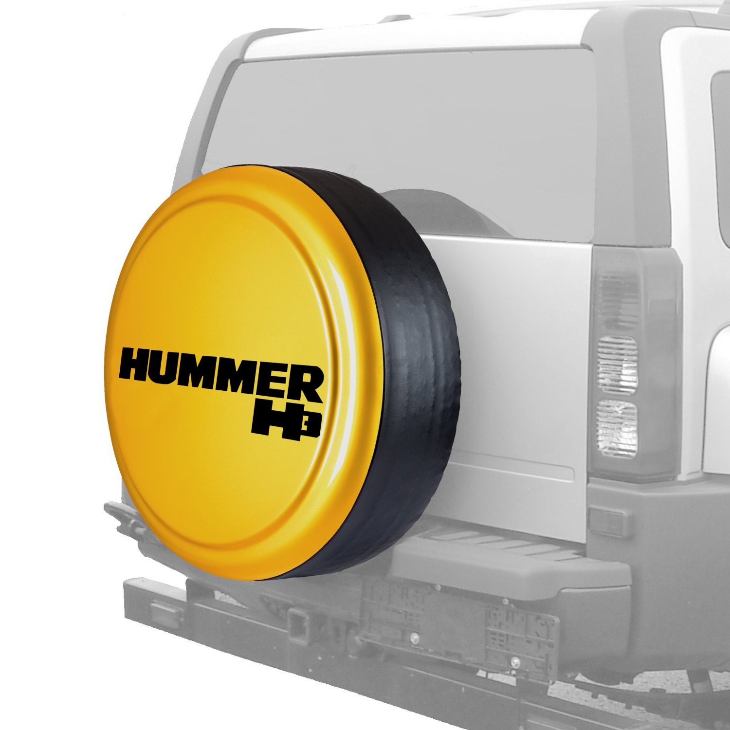 """Boomerang® MB-H113-Y-H13 - 113"""" MasterSeries™ Yellow Spare Tire Cover with  Black Powder Coated SS Ring 