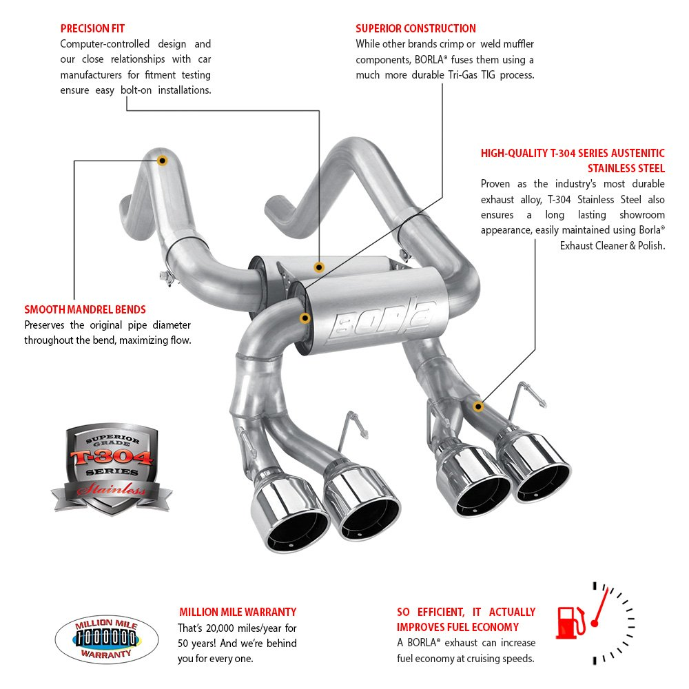 Borla® 11839 - Touring™ Stainless Steel Axle-Back Exhaust System with Split  Rear Exit