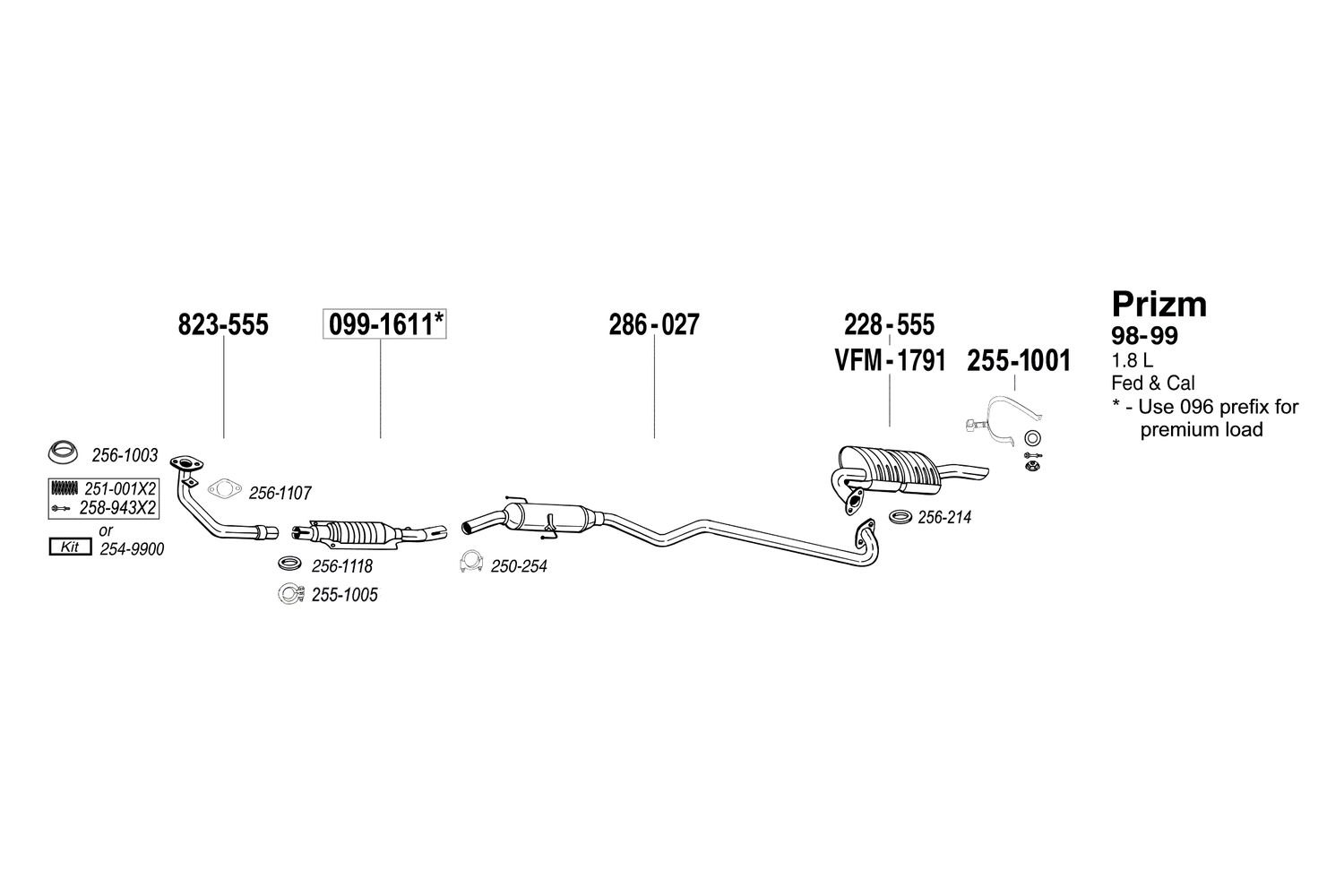 Bosal 251 001 Manifold Spring Geo Tracker Engine Diagram