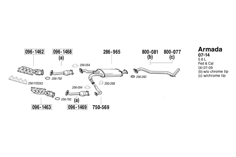 Bosal Nissan Armada 2010 2014 Replacement Exhaust Kit