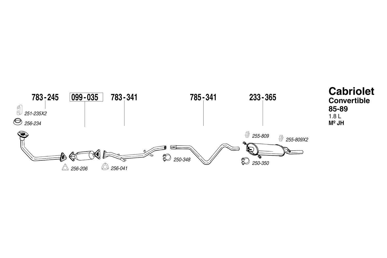 For Volkswagen Cabriolet 1985 1989 Bosal 233 365 Rear Exhaust Wiring Diagram Muffler