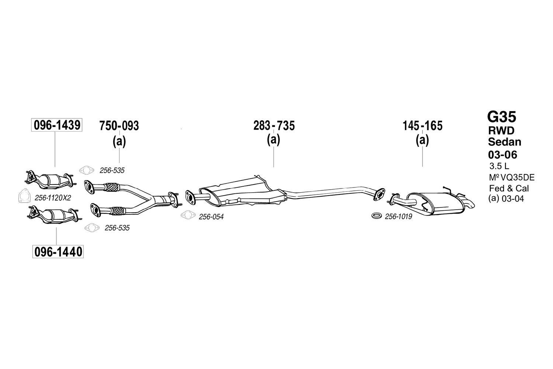 2005 G35 Exhaust Diagram Wiring Diagrams Sedan Fuse Bosal Infiniti 2006 Pipe Flange Gasket Santa Fe