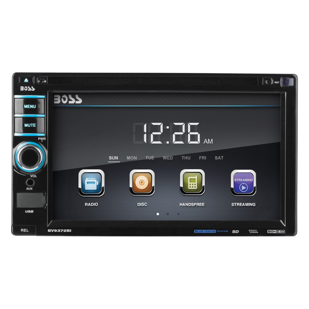 boss audio bv9372bi double din dvd cd am fm mp3 receiver with 6 2 touchscreen display and. Black Bedroom Furniture Sets. Home Design Ideas