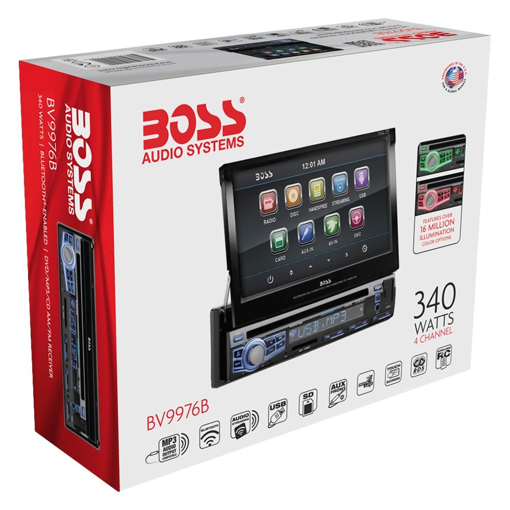 BOSS Audio® BV9976B - Single DIN DVD/CD/AM/FM/MP3/WMA Receiver with on